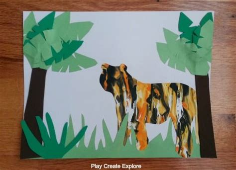 we did this tiger print marbling project 988 | f9971900e1d2d881aeede8d2f348253e shaving cream painting jungle crafts