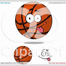 Clipart Of A Goofy Basketball And Face  Royalty Free