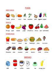 english exercises food drinks vegetables  fruits