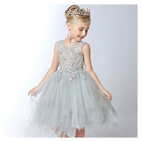 robe de demoiselle d honneur fille robe couleur gris perle de c 233 r 233 monie pour petites filles sweet