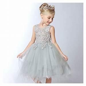 Robe De Demoiselle D Honneur Fille : robe couleur gris perle de c r monie pour petites filles ~ Mglfilm.com Idées de Décoration