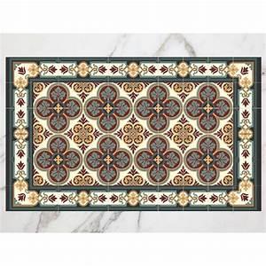 Tapis Vinyl Carreaux De Ciment : tapis carreaux de ciment bord bleu ~ Melissatoandfro.com Idées de Décoration