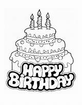 Coloring Birthday Cake Pages Printable Happy sketch template
