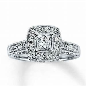 Kay diamond engagement ring 1 ct tw princess cut 14k for Kay jewelers wedding ring
