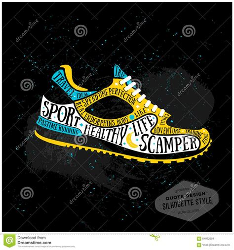 vector typography poster with training shoes icon vector illustration cartoondealer com 64072604