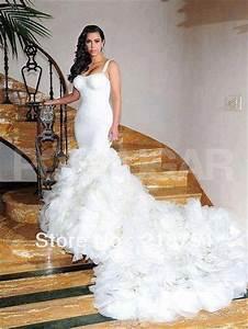 sexy sweetheart mermaid chapel train white appliques With kim kardashian wedding dress price