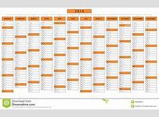 Column Calendar For Year 2016 Stock Vector Illustration