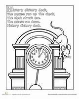 Worksheets Nursery Hickory Dickory Dock Coloring Rhyme Preschool Printable Rhymes Rhyming Mouse Activities Animals Clock Worksheet Printables Crafts Songs Buckle sketch template