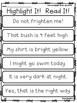 igh words fluency and comprehension by rowland tpt