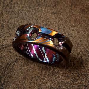 three hole single groove mokuti wedding ring wedding With timascus wedding ring