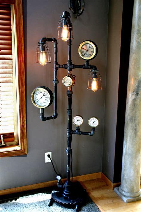 machine age steampunk steam gauge floor lamp  sold