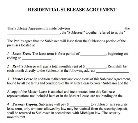 sublease agreement    documents   word