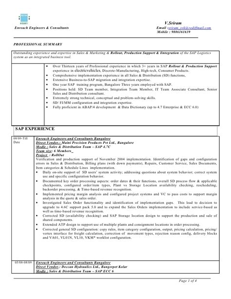 Sap Sd End User Experience Resume by Sap Sd 3 Years