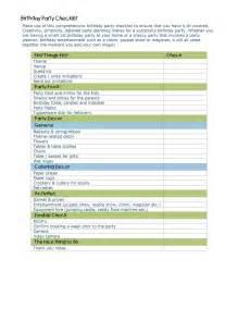 Birthday Party Planning Checklist Template