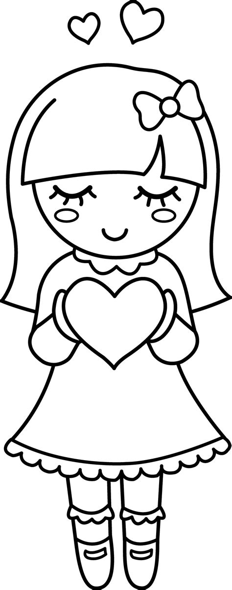 cute valentine girl coloring page  clip art