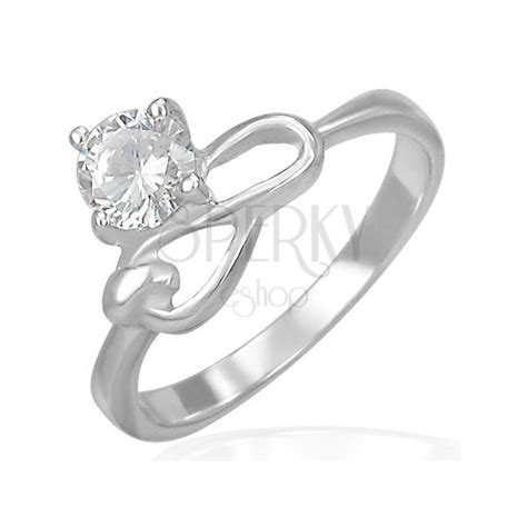 steel engagement ring clear zircon infinity symbol