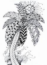 Coloring Palm Tree Summer Pages Stress Anti Therapy Adulte Coloriage Ete Palme sketch template