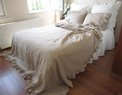queen size linen ruffle duvet cover solid camel beige or