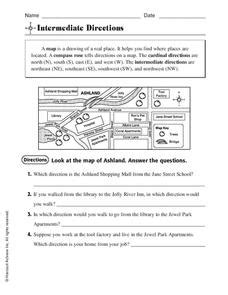 intermediate directions worksheet for 3rd 4th grade