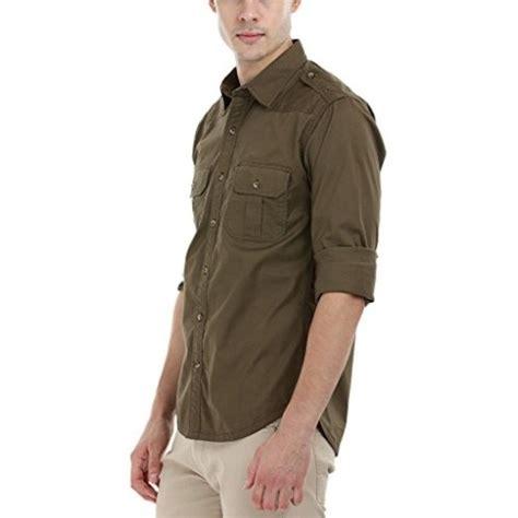 buy zobello mens olive lycra safari shirt  shoulder