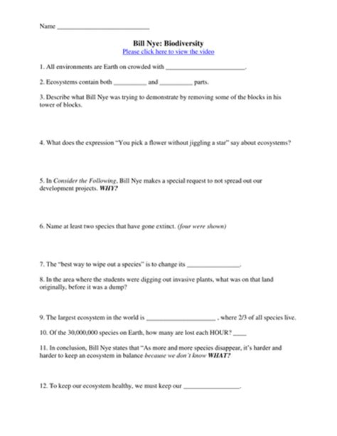 Bill Nye Biodiversity Worksheet Free Homeshealthinfo