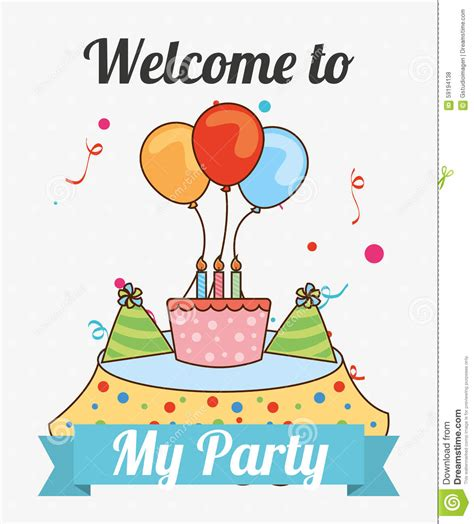 Welcome To My Party Stock Vector Image Of Background