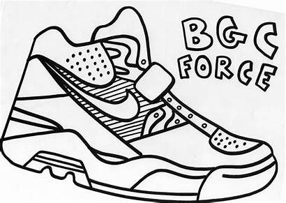 Coloring Pages Printable Nike Shoe Shoes Outline