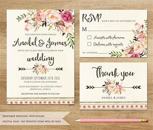 Floral wedding invitation printable wedding invitation for Free printable boho wedding invitations