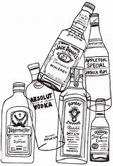Drawing Liquor Alcohol Bottles Stress Release Easy Coloring Pages Sketches sketch template
