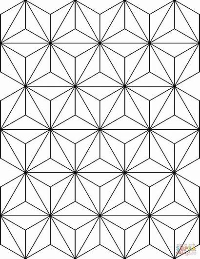 Coloring Asanoha Pattern Pages Printable Paper