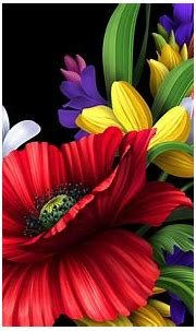 HD colorful flowers bouquet on the black background ...