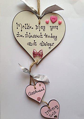 baby girl wooden heart christening plaque gift