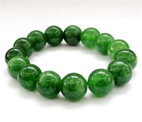 15 12mm Round Green Jade Beads Elastic Bracelet