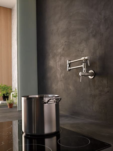 Wall Mount Pot Filler Faucet : 62820LF SS : Euro : Kitchen