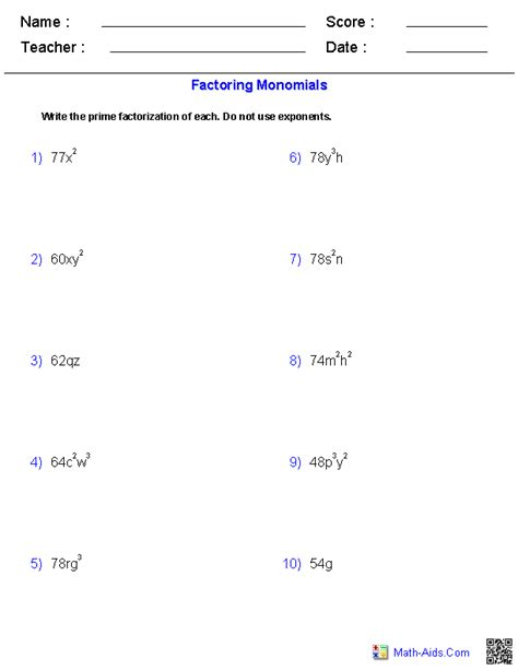 factoring monomials worksheets educational