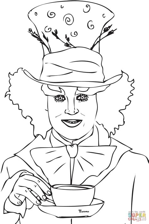 Mad Hatter Tea Party Coloring Page Free Printable