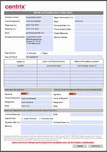 warranty repair centrix security With rma request form template