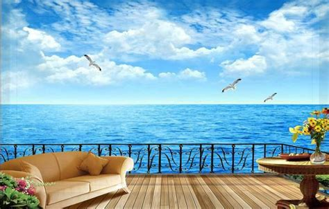wallpaper balcony  sea view tv backdrop wallpaper