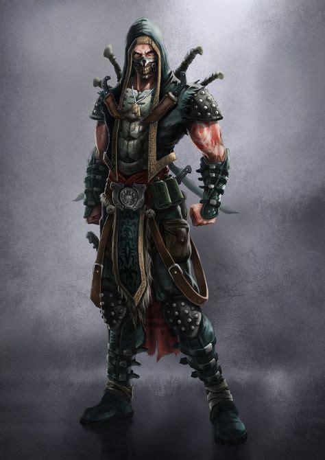 rpg artstation assassin dnd rogue concept thief character fantasy skull mask male kenny mok armor ninja warrior human characters 7sins