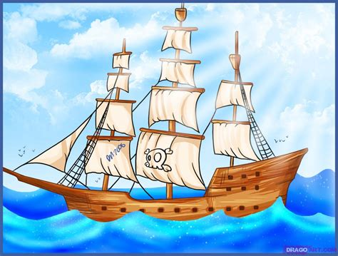 Ship Cartoon by How To Draw A Pirate Ship Step By Step Boats