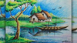 How to Draw a Village Landscape with Oil Pastel | Oil ...