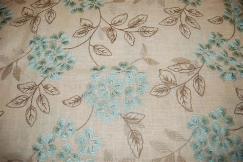 floral embroidered linen drapery fabric