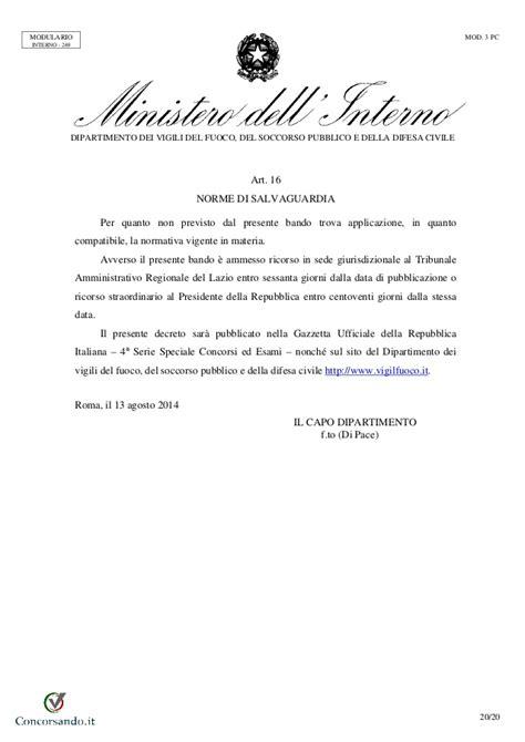Ufficio Concorsi Vigili Fuoco - bando concorso vice direttori vigili fuoco 2014