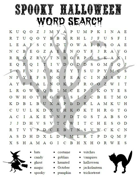 spooky halloween word searches kittybabylovecom