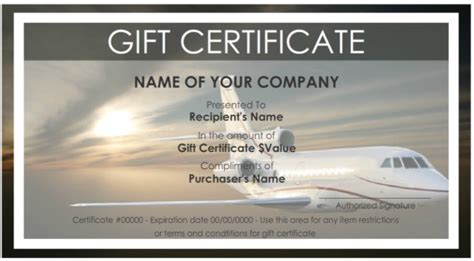 sample travel gift certificate templates