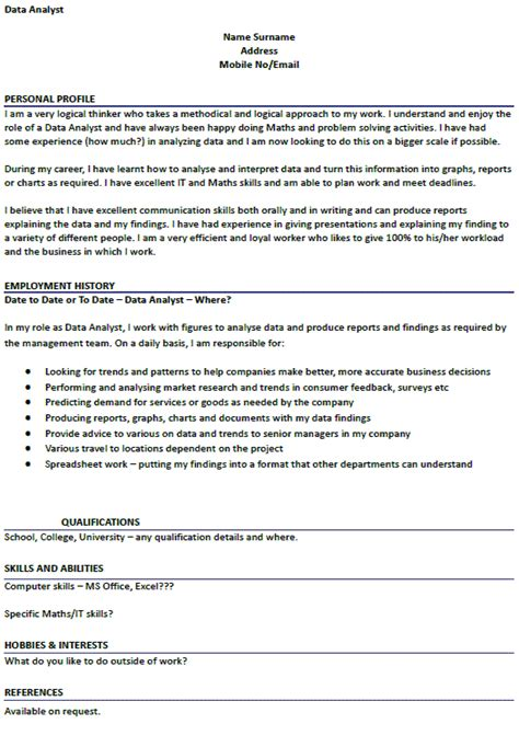 cv   data analyst lettercvcom
