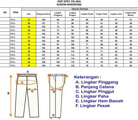kemeja standar standar ukuran kemeja dan celana di surewi wardrobe