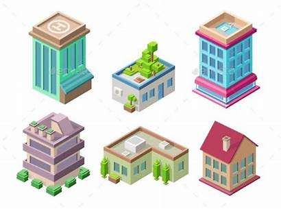 Vector Buildings Isometric Illustration 3d Office Icons