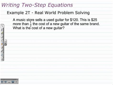 writing and solving two step equations algebra 1 math