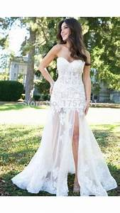 dress slit dress white dress wedding dress lace long With tight fitted wedding dresses